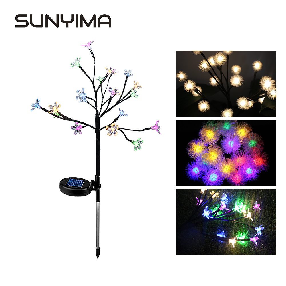 SUNYIMA LED Solar Powered Garden Christmas Light Outdoor Lawn Light Flower Fairy Light Lawn Lamp Party Holiday Wedding Garland
