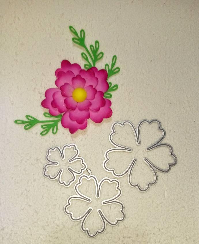 3-piece  Flower Metal Cutting Dies Cutter Stencils Scrapbooking Decorative Embossing Photo Album Decor Card Making DIY Crafts