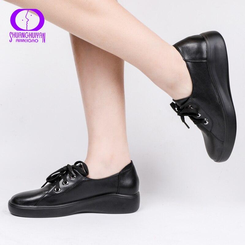 AIMEIGAO 2019 Nova Alta Qualidade Moda Casual Sapatos Rasos Mulheres Primavera E No Outono Confortável Flexível Senhoras Sapatos Baixos