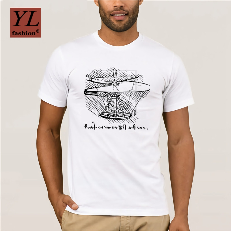 2020 Fashion T Shirt 100% Cotton Helicopter Leonardo Da Vinci Summer Short Sleeve T Shirts Tops Cotton Tees Free Shipping image