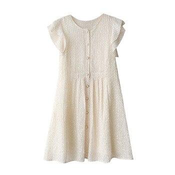 Minivestido beige con botones, sin mangas, con cuello redondo, elegante para verano D1064 para mujer