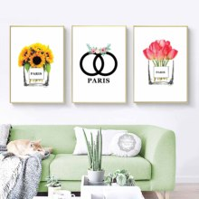 Nordic Home Decoration Abstract COCO Perfume Bottle and Flower Wall Art N5 Canvas Painting Modern Pictures For Living Room