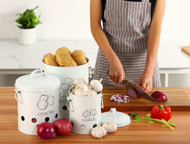 Breathable Kitchen Container Set and Food Storage Bins with 2 Handles for Storing Potatoes and Onions 7