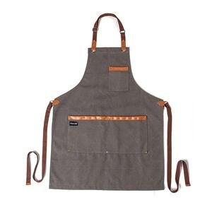 Image 4 - אופנה מטבח סינרי בישול בד ג ינס סינר לאישה איש מסעדה לעבוד סינר חלוקים סינר מבוגר סינר מותאם אישית לוגו