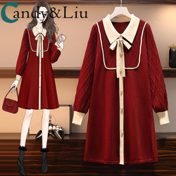 Fat Sister Autumn Winter new style loose thin covering meat reducing middle and long style French style large knitting dress