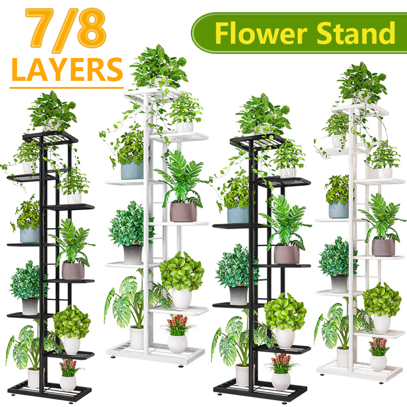 6/7/8Layers Flower Stand Rack Storage Shelf Iron Plant Holder Home Garden Flower Pot Organizer Living Room Balcony Storage Rack