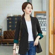 Korean Fashion Blazer Women Outerwear Autumn Women's Blazers Black Creamy-white Fashion Ladies Lady Office Girl Coat Female