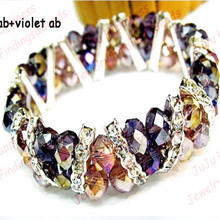 Free Shipping!Wholesale 10pcs/lot Handmade Two Rows Purple AB And Violet AB Rondelle Crystal Glass Beads Strand Bracelet 1141