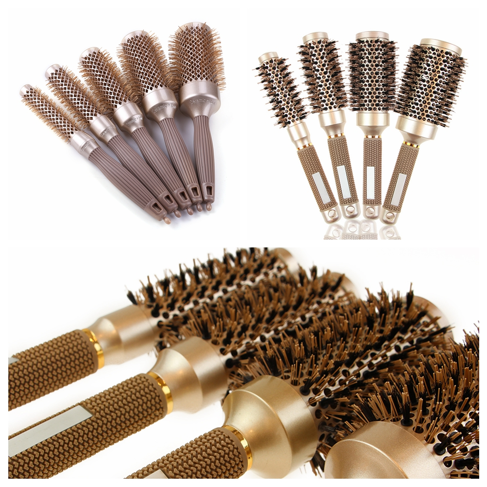1PC Professional Hair Brush Ceramic Iron Round Comb Dressing Salon Styling Comb Professional Hair Dressing Brushes