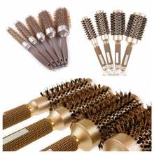 1PC Professional Hair Brush Ceramic Iron Round Comb Dressing Salon Styling Comb Professional Hair Dressing Brushes все цены