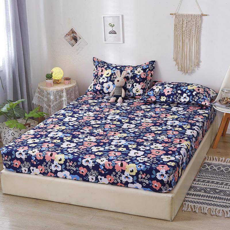 Bonenjoy/комплект постельного белья из 3 предметов, простыня с цветочным принтом для королевской кровати на резиновой резинке, простыня с навол...