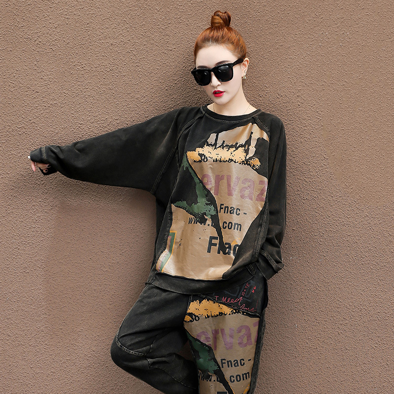 Woman's 2 Two Piece Set Women 2020 Spring Autumn Loose Suits For Woman O Neck Short Sleeves Elastic Wait Pants Female