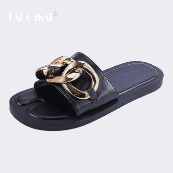 LALA IKAI 2021 ZA Slippers Women Summer Shoes For Sandals Summer Female Shoes Flats Designer Slides Rubber Slippers