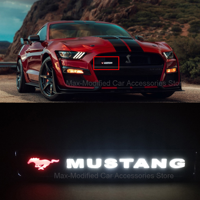 Mustang GT350 GT500 Pony Horse Badge Emblem DRL Day Running Light Hood Grill Grille Bonnet Led Logo Lamp