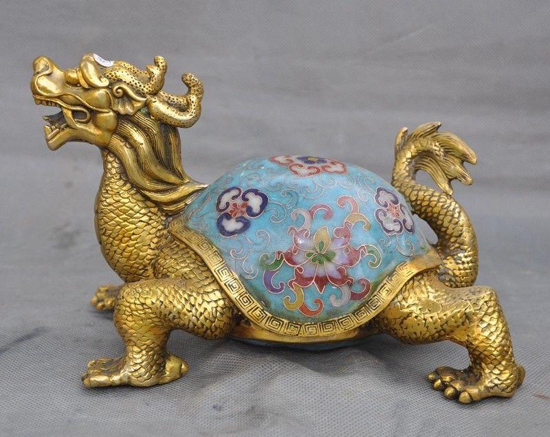 Christmas Old Chinese Bronze Cloisonne Gilt Longevity Dragon Turtle Tortoise Lucky Statue Halloween