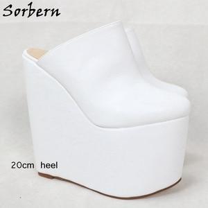 Image 3 - Sorbern สีขาว SLIP ON Mules WEDGE แพลตฟอร์มรองเท้าส้นสูงชี้ Toe 7 นิ้วรองเท้าส้นสูงสตรีรองเท้ารองเท้าที่กำหนดเองที่กำหนดเองสี