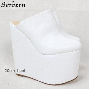 Image 3 - Sorbern White Slip On Mules Wedge Platform High Heels Pointed Toe 7 Inch Heels Womans Designer Shoes Custom Multi Colors