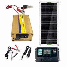 Солнечная система питания 220 В 30 Вт 60A контроллер Солнечная Панель зарядное устройство 220 Вт Инвертор USB Комплект Полная домашняя сетка для к...