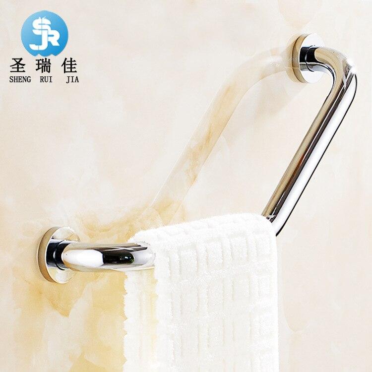 Ванная комната из нержавеющей стали Ручка три изгиба для пожилых людей Ванна поручень толстый Противоскользящий туалет безопасный