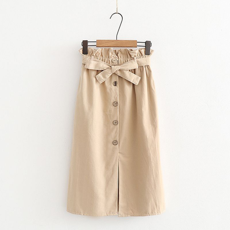 Women Girl Open Skirt Retro Versatile Stretchy High Waist Single breasted Bow Tie Pleated Short College Skirt Solid Color Skirt in Skirts from Women 39 s Clothing