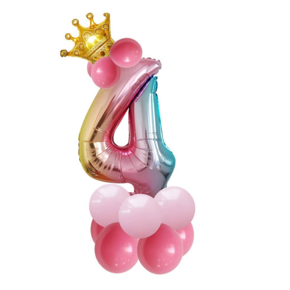 Купить с кэшбэком Amazon new balloon gradient digital crown birthday party aluminum film balloon 32 inch aluminum film digital balloon