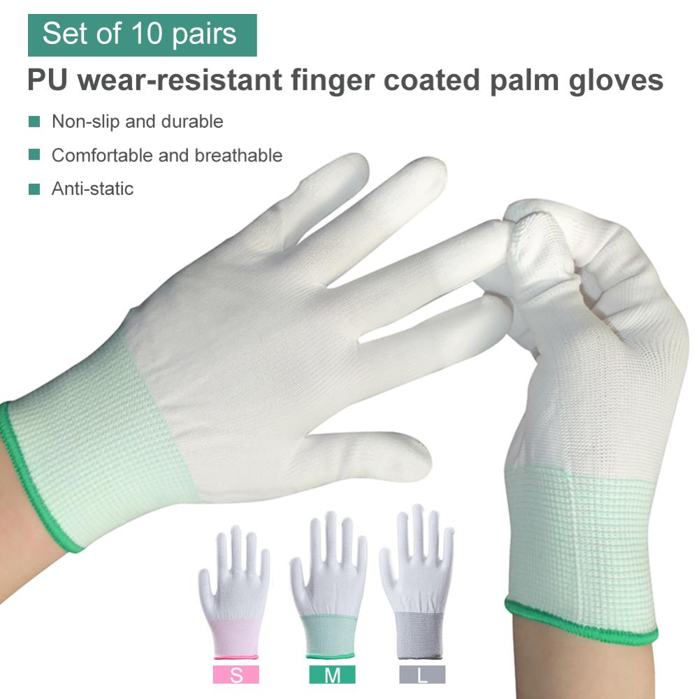 10 Pair Protective Gloves Isolation Nylon Anti Static Gloves PU Coated Palm Coated Finger PC Antiskid Safety Protection Gloves