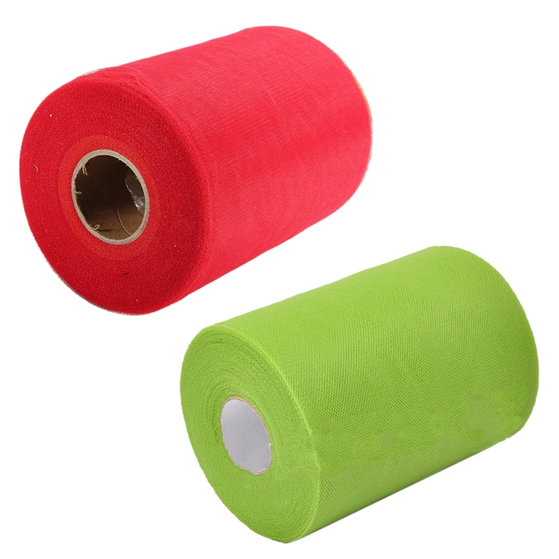 2 Pcs Soft 6 Inch X 100Yd Tulle Roll Spool Wedding Craft Bridal Wrap Party Decor 6 Inch X 300 Feet New , Grass Green & Red