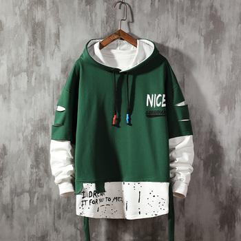 Men ribben Hoodies  Autumn Male Fashion Hoodies Men's Sweatshirts Solid Color Splice Hoodies Street Style 1