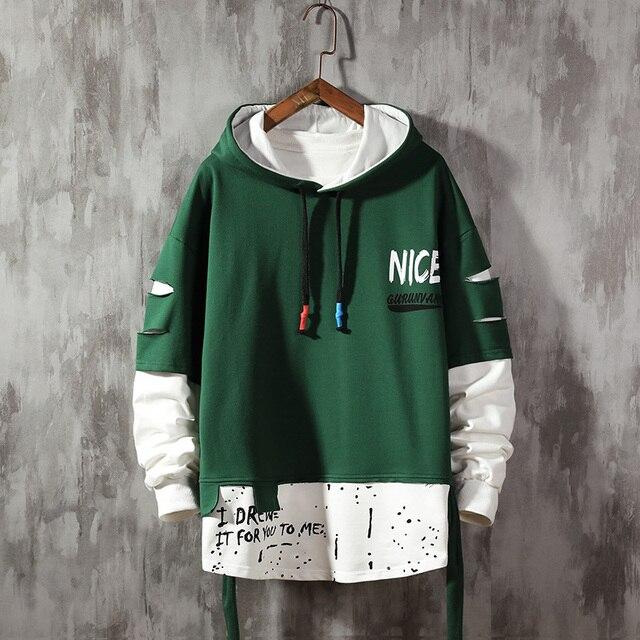 $ US $22.63 Men ribben Hoodies  Autumn Male Fashion Hoodies Men's Sweatshirts Solid Color Splice Hoodies Street Style
