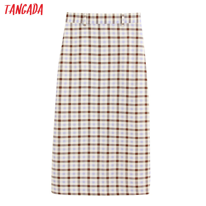 Tangada Women Plaid Pencil Midi Skirt Faldas Mujer Vintage Side Zipper Office Ladies Elegant Chic Mid Calf Skirts BE225