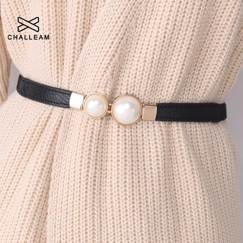 Women Double Pearl Belt Female Black Red White PU Leather Dress Skirt Waist Elastic Thin Belts Ladies Designer Waistband 272