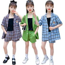 Suit Vest Jacket Girls Kids Summer Plaid for Clothing Short-Sleeved Three-Piece-Suit
