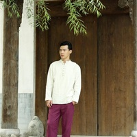 Chinese Style Male Shirts Mandarin Collar Button Masculine Outwear Linen Comfortable Loose Plus Size Male Clothing SY0005