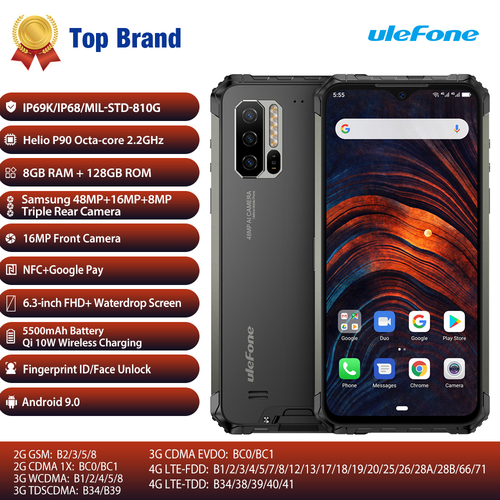 Ulefone Armor 7 Global Vision Smartphone Octa Core 8GB+128GB IP68 Rugged Mobile Phone Helio P90 Android 9.0 48MP 4G LTE Camera