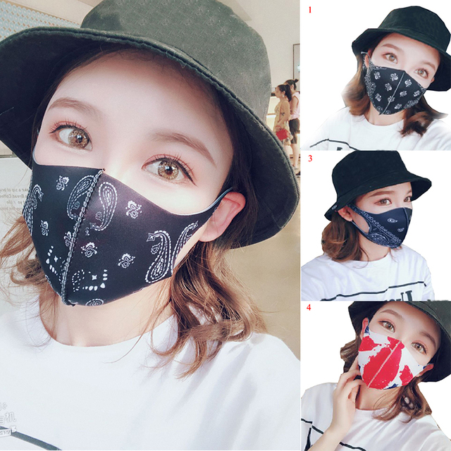 Fashion Black Mouth Mask Cotton Washable Cartoon Face Masks Personality Reusable Mouth-muffle Breathable Printed Mouth Covers