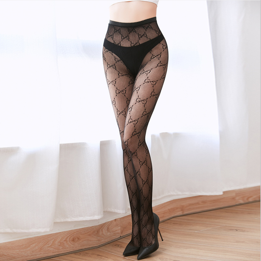 Sexy France Letter Tights Fashion Fish Net Pantyhose Women Jaquard Stockings