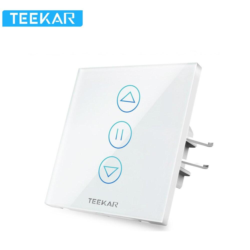 Teekar 4th Generation WiFi Smart Curtain Switch EU Standard Fr Electric Motorized Curtain Blind Roller Shutter Alexa Google Home
