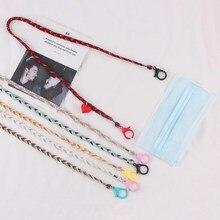 Cadena de hilo de algodón para mascarilla de mujer, colgante de corazón, correas para gafas de sol, cordón para gafas, soporte para el cuello, 1 unidad