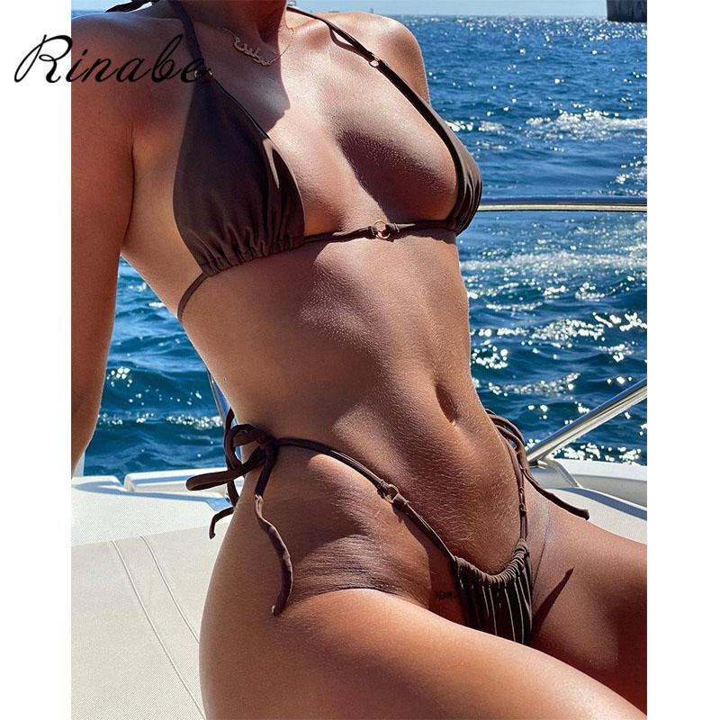 Rinabe Bikini 2021 Swimsuit Solid Color Bikini Set Floral Print Swimwear Sexy Biquini Bathing Suit Women Bikinis String Beach