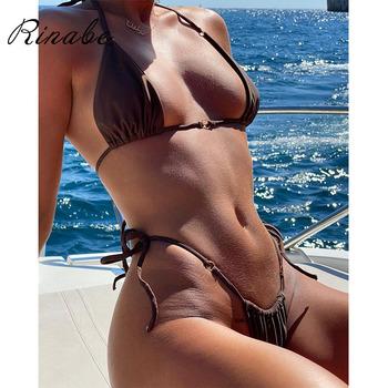 Rinabe Bikini 2021 strój kąpielowy jednolity kolor Bikini zestaw kwiatowy stroje kąpielowe z nadrukiem Sexy Biquini strój kąpielowy kobiety Bikini String Beach tanie i dobre opinie Stałe Floral Drukuj CN (pochodzenie) Bezpłatny drut NYLON spandex Dla osób w wieku 18-35 lat Niska talia Bikini Set WOMEN