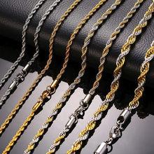 Zorcvens nova corrente de corda de aço inoxidável colar masculino tom de ouro trançado onda links cadeias básicas gargantilha unissex punk jóias