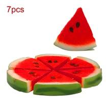 7pcs/set Artificial Simulation Mini Fake Fruit Decor Watermelon Photography  Props Home Party Decoration