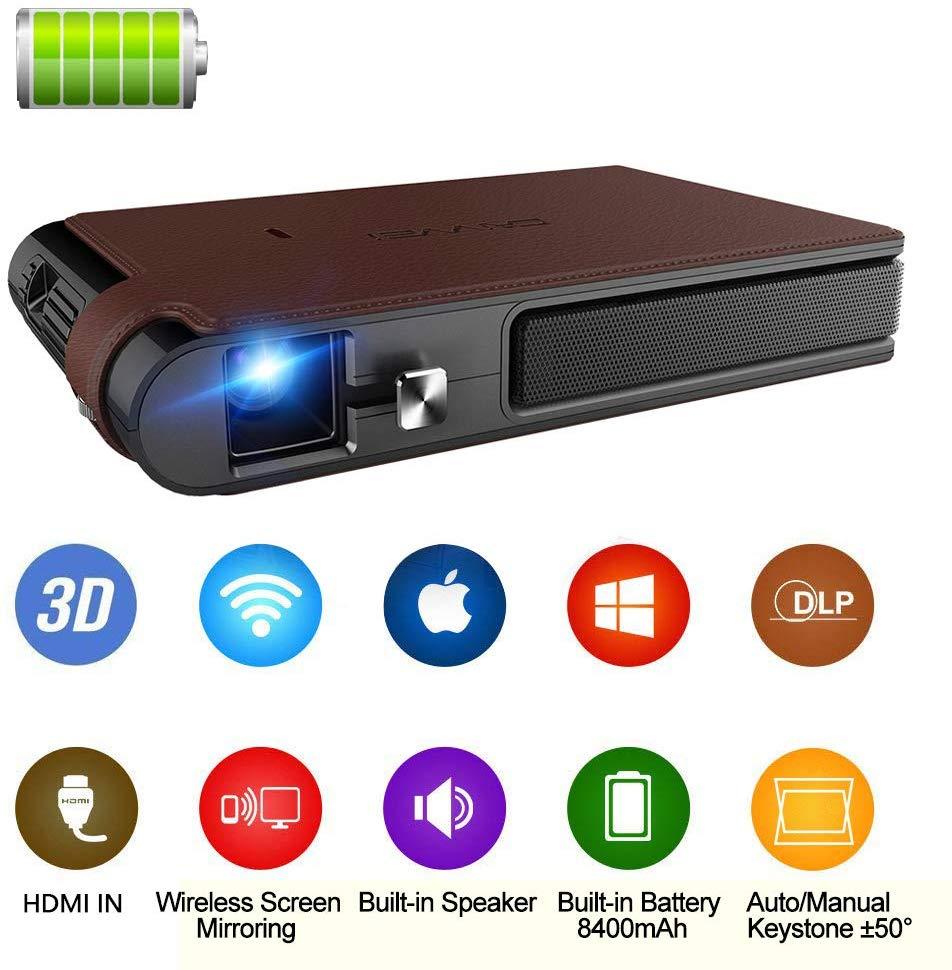 Mini projecteur Portable DLP 3D HDMI WiFi Support HD 1080P projecteur de poche Pico sans fil, haut-parleur de batterie intégré Keystone automatique