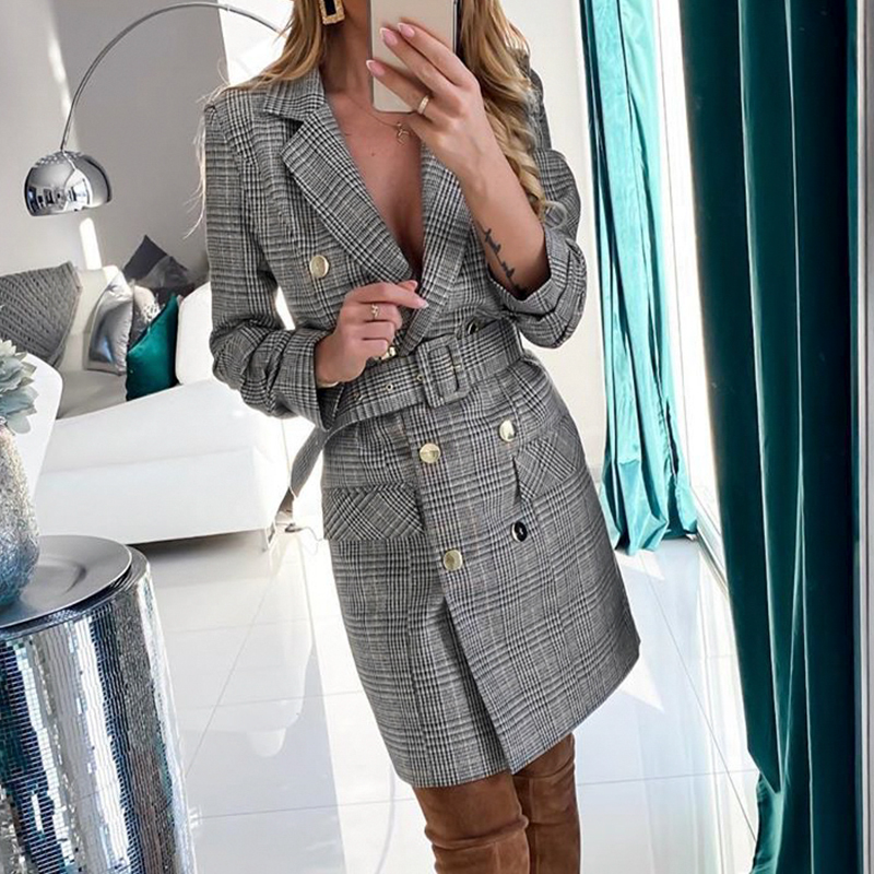 2020 Retro Double Breasted Belt Plaid Dress Women Elegant Office Ladies Blazer Dresses Elegant Ladies Autumn New Mini Dress