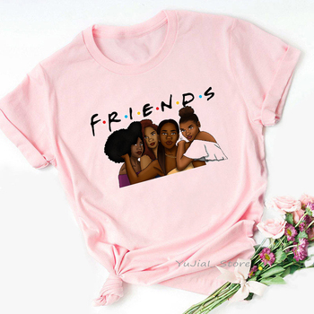 Vogue FRIENDS Tshirt femme Letter print graphic tees women melanin black girl Friends TV Show t-shirt Christmas cute pink tshirt