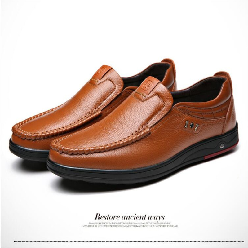 Newly Men's Genuine Leather Shoes Head Leather Soft Anti-slip Driving Shoes Men Spring Leather Shoes Size 38-47