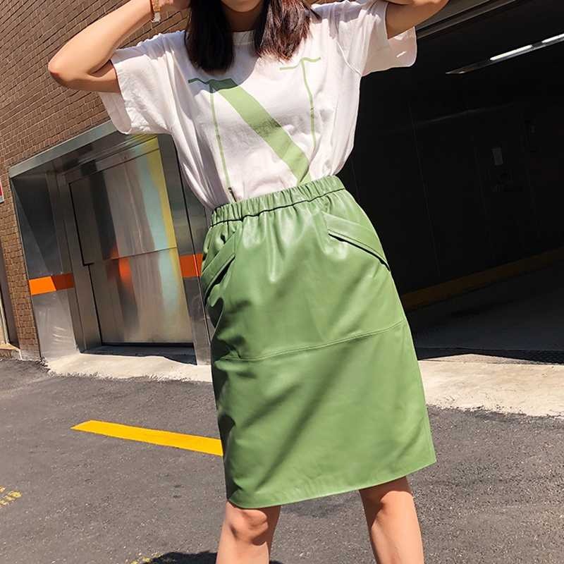 Long Skirt  Natural Sheepskin Genuine Leather 2019 Fashion Female  Design A Real Slim Hip Belt Skirt