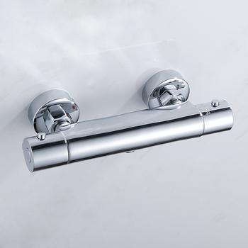 Prysznic kąpielowy prysznic termostatyczny baterie ścienny zawór mieszający bateria termostatyczna prysznicowa łazienka podwójny wylot z kranu tanie i dobre opinie everso S2877000910 Współczesna Termostatyczne baterie Stała typu wsparcie Chrome Podwójny uchwyt podwójna kontrola