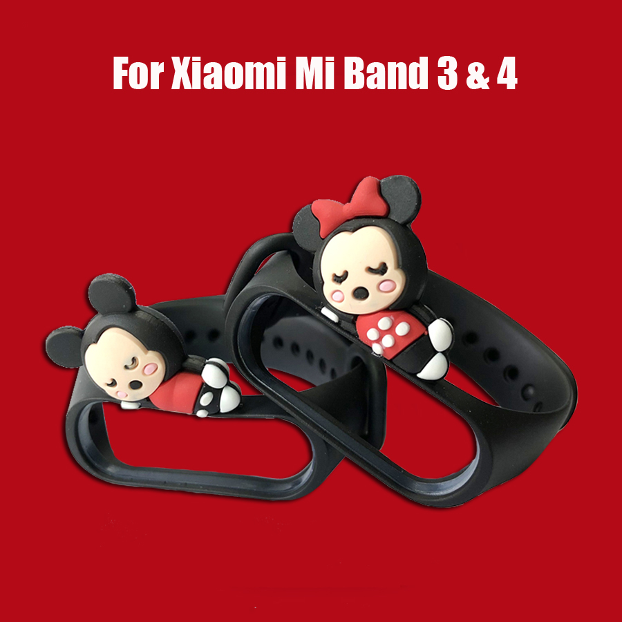 For Mi Band 4 Strap Cute Toy Silicone Wrist Strap Bracelet For Xiaomi Mi Band 3/4 Replace Band For Miband 3 Bracelet Accessories