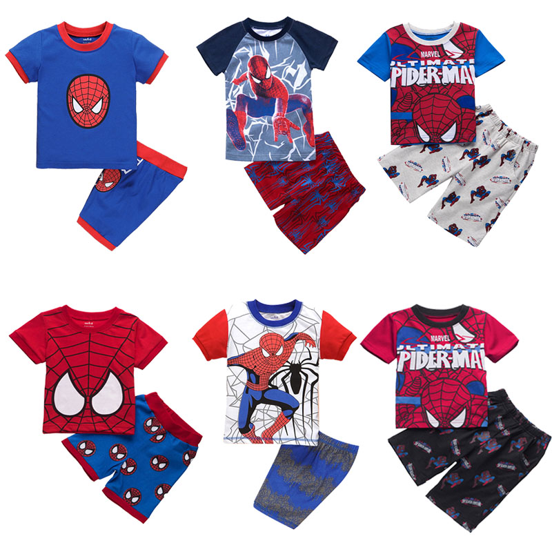 Summer Spiderman Sets Costume Kids Boy Cotton Pajamas Cosplay Movie Spider Man Baby Clothes T-shirt+Shorts For Children Party